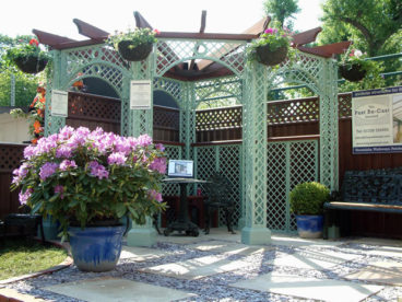 <p>A corner Pergola, designed and erected for our stand at the RHS Chelsea Flower Show</p>