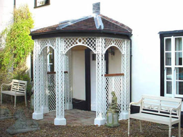 <p>A very unusual 5 sided porch with a tiled roof to match the 15thC Hall House in Norfolk.</p>