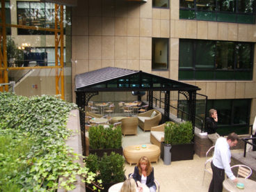 <p>A ridged-roofed Smoking Shelter for staff at a major multi-national company in Surrey, one of 4 built for them. Approximately 8m long x 4m wide.</p>