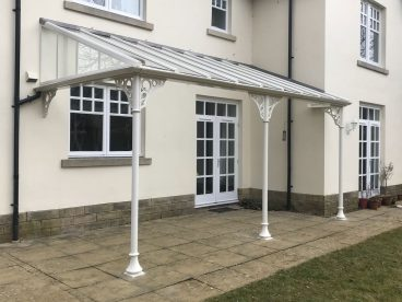 <p> A simple verandah with plain trompette columns and circle quarter arches and guttering linked to existing downpipe. Fitted February 2018</p>